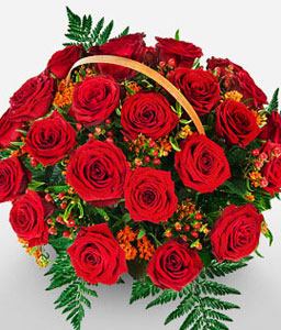 Rose basket-Red,Rose,Arrangement,Basket