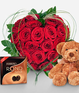 19 Reasons Combo-Red,Chocolate,Rose,Bouquet,Soft Toys