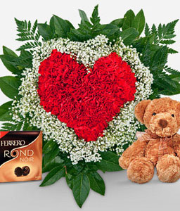 Red Heart Combo-Red,Carnation,Chocolate,Bouquet,Soft Toys