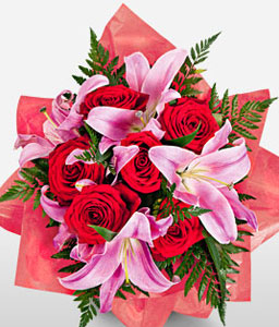 Crazy in Love-Pink,Red,Lily,Rose,Bouquet