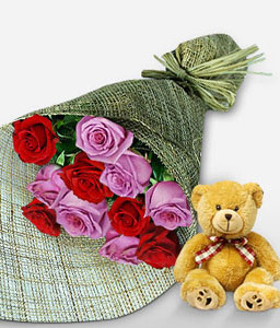 Red & Lilac Roses-Pink,Red,Rose,Teddy,Bouquet