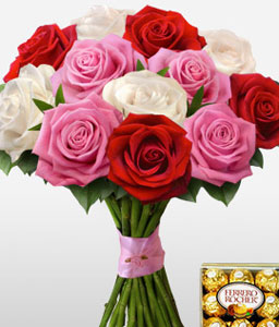 Sweet Love-Mixed,Red,White,Rose,Chocolate,Bouquet