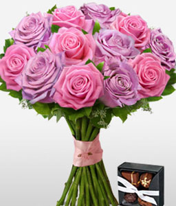 Lilac Kisses <Br><Font Color=Red>12 Roses & Free Chocolates </Font>
