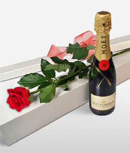 Single Rose With Moet-Red,Rose,Wine,Bouquet,Hamper
