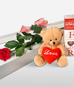 In Love With You-Red,Rose,Chocolate,Bouquet,Hamper,Soft Toys