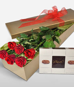 Sweet Relationship-Red,Chocolate,Rose,Bouquet,Hamper
