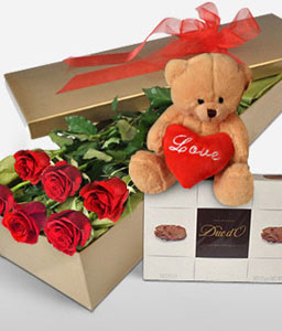 Lovers Delight-Red,Chocolate,Rose,Soft Toys