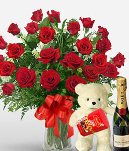 Classic 24 Love Roses-Red,Chocolate,Rose,Wine,Bouquet,Hamper