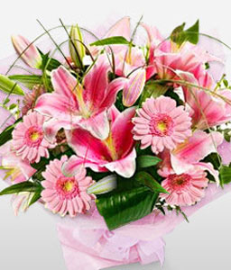 Indulgent Opulence-Pink,Gerbera,Lily,Mixed Flower,Bouquet