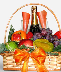 Fruits And Champagne Basket-Fruit,Gourmet,Basket,Hamper,Champagne