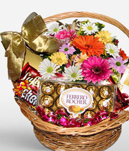 Chocolates And Flowers Basket-Mixed,Mixed Flower,Gourmet,Chocolate,Basket,Hamper