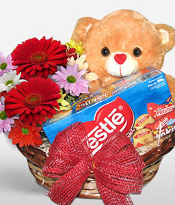 Flower Bear-Mixed,Chocolate,Gourmet,Mixed Flower,Basket,Hamper,Soft Toys