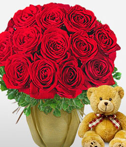 Red Hot Cuddles-Red,Rose,Bouquet,Soft Toys