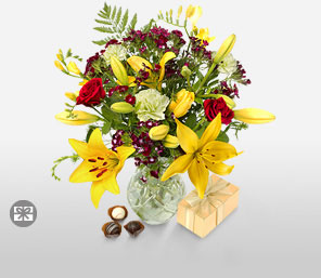 Flowers & Chocolates-Green,Mixed,Pink,Red,Yellow,Chocolate,Lily,Mixed Flower,Rose,Bouquet