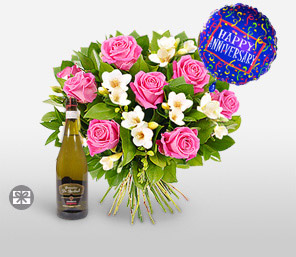 Happy Anniversary-Pink,White,Rose,Balloons,Bouquet,Hamper,Champagne