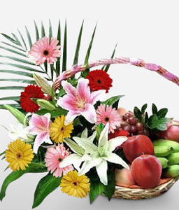 Flowers & Fruit Basket-Mixed,Pink,Yellow,Fruit,Gourmet,Arrangement,Basket,Hamper