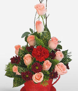 Beautiful Blooms-Peach,Pink,Red,Carnation,Rose,Arrangement