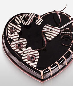 Chocolate Heart Shape Cake - 35oz/1kg-Chocolate,Gourmet,Cakes