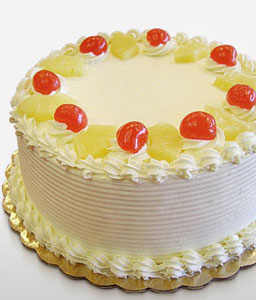 Pineapple Cake 0.5 Kg-White,Cakes,Gifts