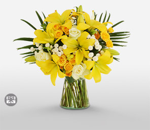 Sunny Yellow-Yellow,Rose,Lily,Carnation,Arrangement,Bouquet