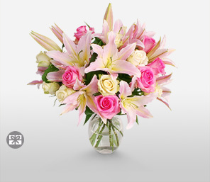 Lily And Rose Bouquet-Pink,White,Lily,Rose,Arrangement,Bouquet