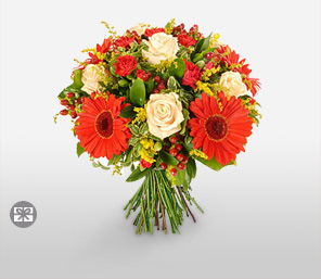 Bright And Cherry-Mixed,Orange,Peach,Red,Yellow,Rose,Mixed Flower,Gerbera,Carnation,Bouquet