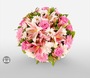 Pink Prettiness-Pink,White,Alstroemeria,Gerbera,Lily,Rose,Bouquet