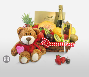 Exotic Indulgence Basket-Mixed,Teddy,Chocolate,Basket,Champagne,Soft Toys