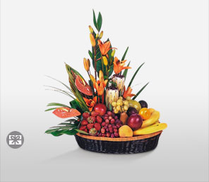 Fruit & Flower Fusion Basket-Mixed,Fruit,Basket