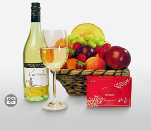 Scintillating Delicacies-Mixed,Wine,Fruit,Chocolate,Basket