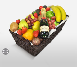 Luscious Delight Basket-Mixed,Fruit,Basket,Champagne