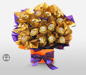 Choco Foliage Bouquet-Orange,Purple,Chocolate,Bouquet