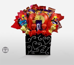 Heavenly Chocolate Bouquet-Red,Chocolate,Arrangement,Basket