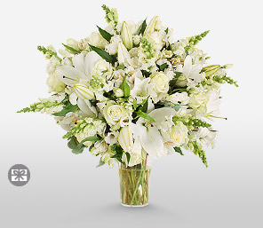 Grace-White,Rose,Lily,Alstroemeria,Arrangement