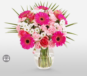 Pinks of Love-Green,Pink,White,Alstroemeria,Chrysanthemum,Gerbera,Rose,Bouquet