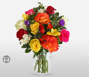 Rose And Freesia-Mixed,Pink,Purple,White,Yellow,Freesia,Rose,Arrangement