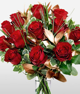 Dozen Luxury Red Roses-Red,Rose,Arrangement