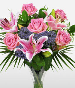 Rose Lily Delight-Green,Lavender,Pink,Lily,Rose,Arrangement