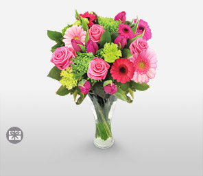 Marvel-Blue,Green,Pink,Gerbera,Rose,Arrangement