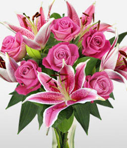 Rose And Lily Hand Tied-Green,Pink,Lily,Rose,Arrangement