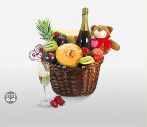 Delightful Surprise Basket-Fruit,Teddy,Champagne,Basket