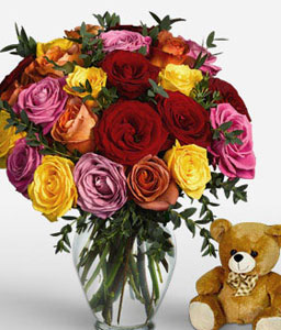 Marvel 24 Assorted Roses <Br><Font Color=Red>Free Teddy Bear </Font>