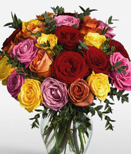 Colors Of Life-Mixed,Orange,Pink,Red,Yellow,Rose,Arrangement