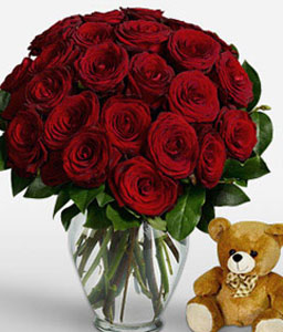 24 Red Roses-Red,Rose,Teddy,Bouquet