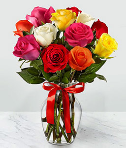 18 Stem Rainbow Roses-Mixed,Rose,Bouquet