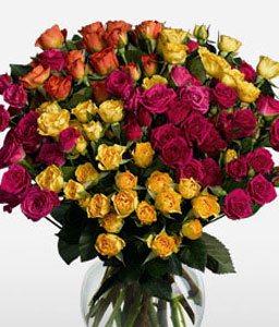 Fantasia 16 Long Stem Spray Roses-Mixed,Orange,Pink,Red,Yellow,Mixed Flower,Rose,Arrangement