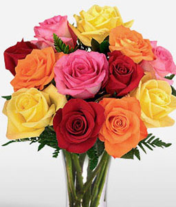 One Dozen Rainbow Roses-Orange,Pink,Red,Yellow,Rose,Bouquet