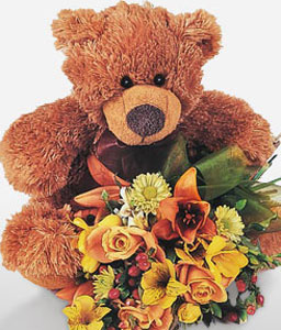 Teddy love with Flowers-Mixed Flower,Teddy,Gifts,Soft Toys