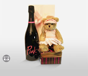 Pink Champagne With Teddy & Chocolates