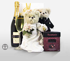 Mr. & Mrs. Lovington Wedding Gift-Teddy,Hamper,Soft Toys,Champagne,Gifts